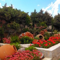 Landscape after- vivid color all summer and Greek urns